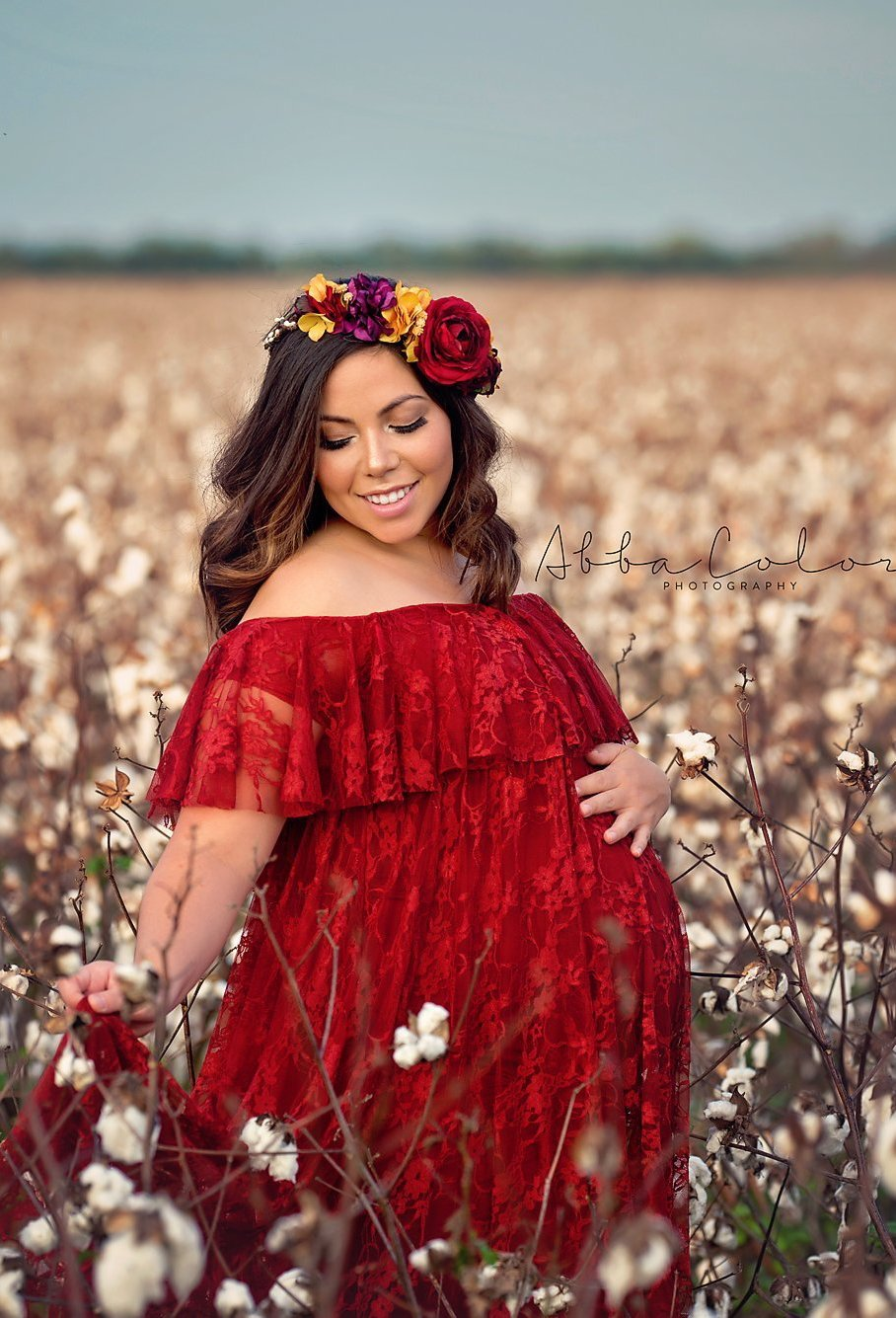 Mable Flower Crown Red Sew Trendy Maternity Gown Shop In