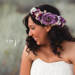 Amethyst Floral Crown • Fall Floral Crown • Vintage Grapevine Floral • Maternity Crown • Flower Girl Headpiece •  | Ready To Ship • by Sew Trendy