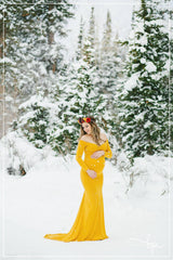 Emerlie Gown • Fitted Maternity Gown • Long Sleeve Maternity Gown • Slim Fit Maternity Gown • Maxi Dress  • by Sew Trendy