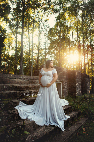 Faythe Gown • Sweetheart Sheer Gown • Chiffon Off the Shoulder Dress • Short Sleeve Maternity Gown • by Sew Trendy
