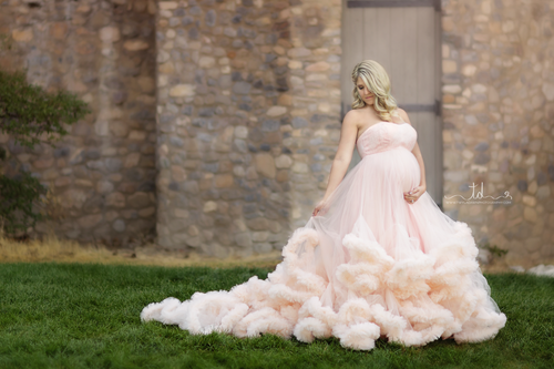 Harlow Gown • Couture Ruffle Gown • Couture Maternity Gown • Belle Gown • Couture • by Sew Trendy