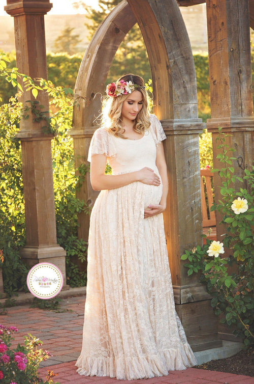 Long Lace Maternity Dress