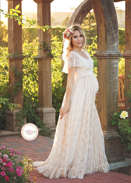 Josephine Gown • Lace Flutter Maternity Gown • Wedding Gown • by Sew Trendy
