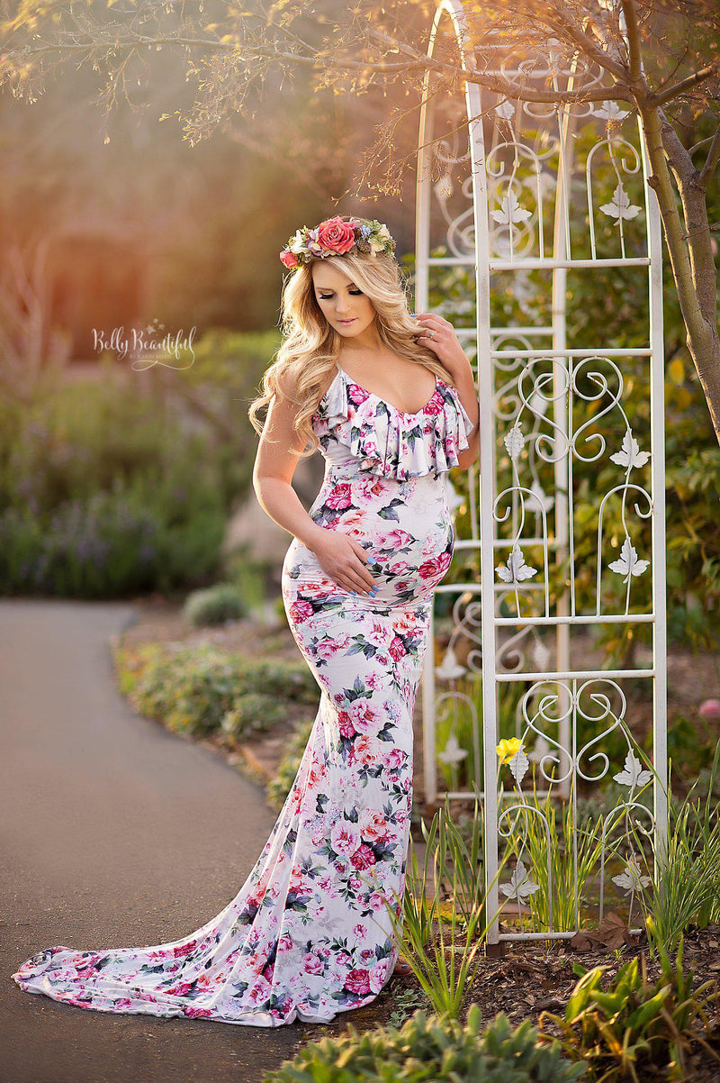 Karen Gown {FLORAL}-Maternity Gown-Sew Trendy Accessories