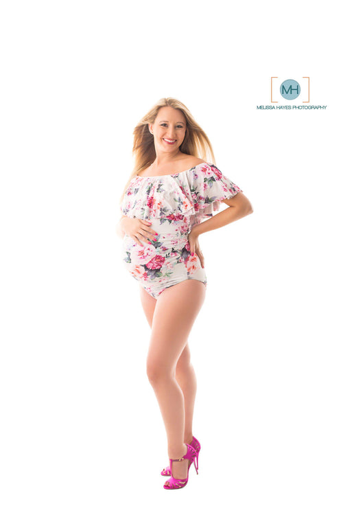 Valentina Floral Bodysuit • Floral Knit Body Suit • Floral Bodysuit • Bodysuit Maternity Top • Bodysuit Top • Leotard Shirt • Bodysuit with Snaps • by Sew Trendy