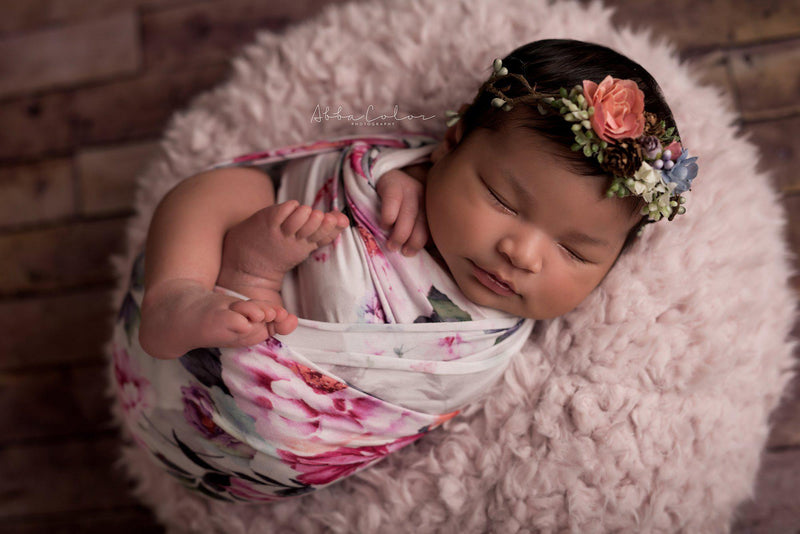 Floral Newborn Wrap {grey floral} | Ready to Ship | FREE SHIPPING
