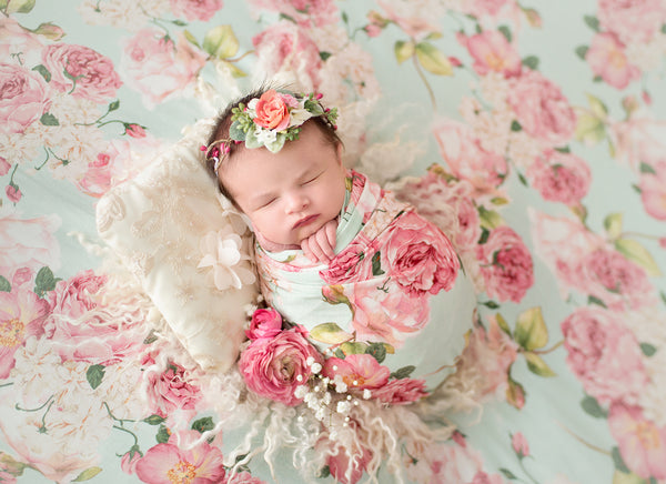 Newborn Floral Beanbag Backdrop {MINT FLORAL} | Ready To Ship