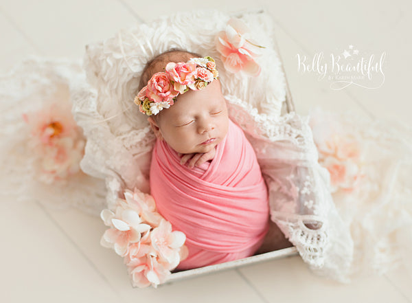 Mini Beverlee Floral Crown • Newborn Flower Crown • Simple Crown • Bohemian Crown • Ivory Floral Crown • Dainty Floral Crown | READY TO SHIP • by Sew Trendy