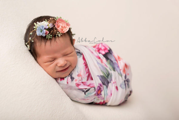 Floral Newborn Wrap {grey floral} | Ready to Ship