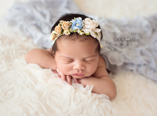 Mini Estelle Newborn Floral Crown • Newborn Flower Crown • Simple Crown • Bohemian Crown • Ivory Floral Crown • Dainty Floral Crown | READY TO SHIP • by Sew Trendy