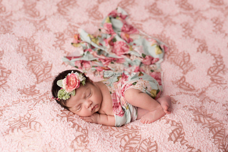 Floral Newborn Wrap {mint floral} | Ready To Ship | FREE SHIPPING