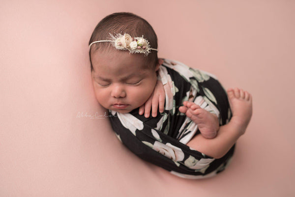 Floral Newborn Wrap {black floral} | Ready To Ship