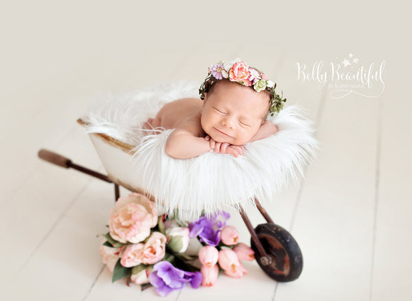 Mini Primrose Floral Crown • Newborn Flower Crown • Simple Crown • Bohemian Crown • Ivory Floral Crown • Dainty Floral Crown | READY TO SHIP • by Sew Trendy