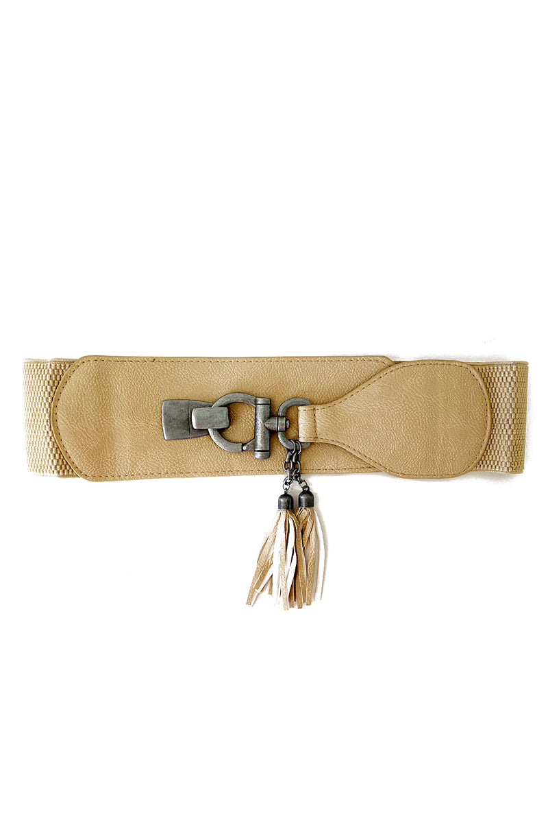 Tassel Hook Belt in Beige