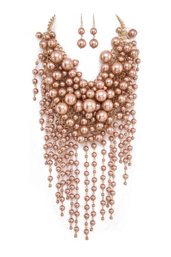 Pearl Waterfall Statement Necklace and Earring Set in Champagne