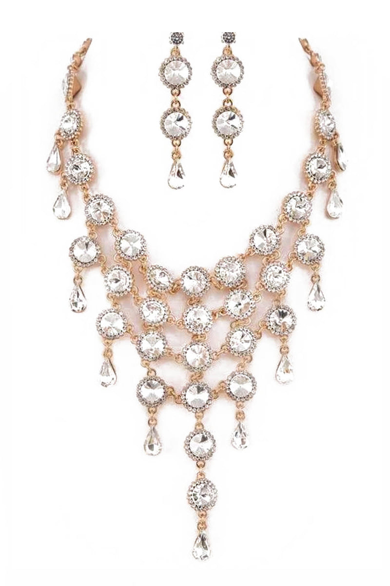 Rhinestone Bib Statement Necklace & Earring Set in Gold