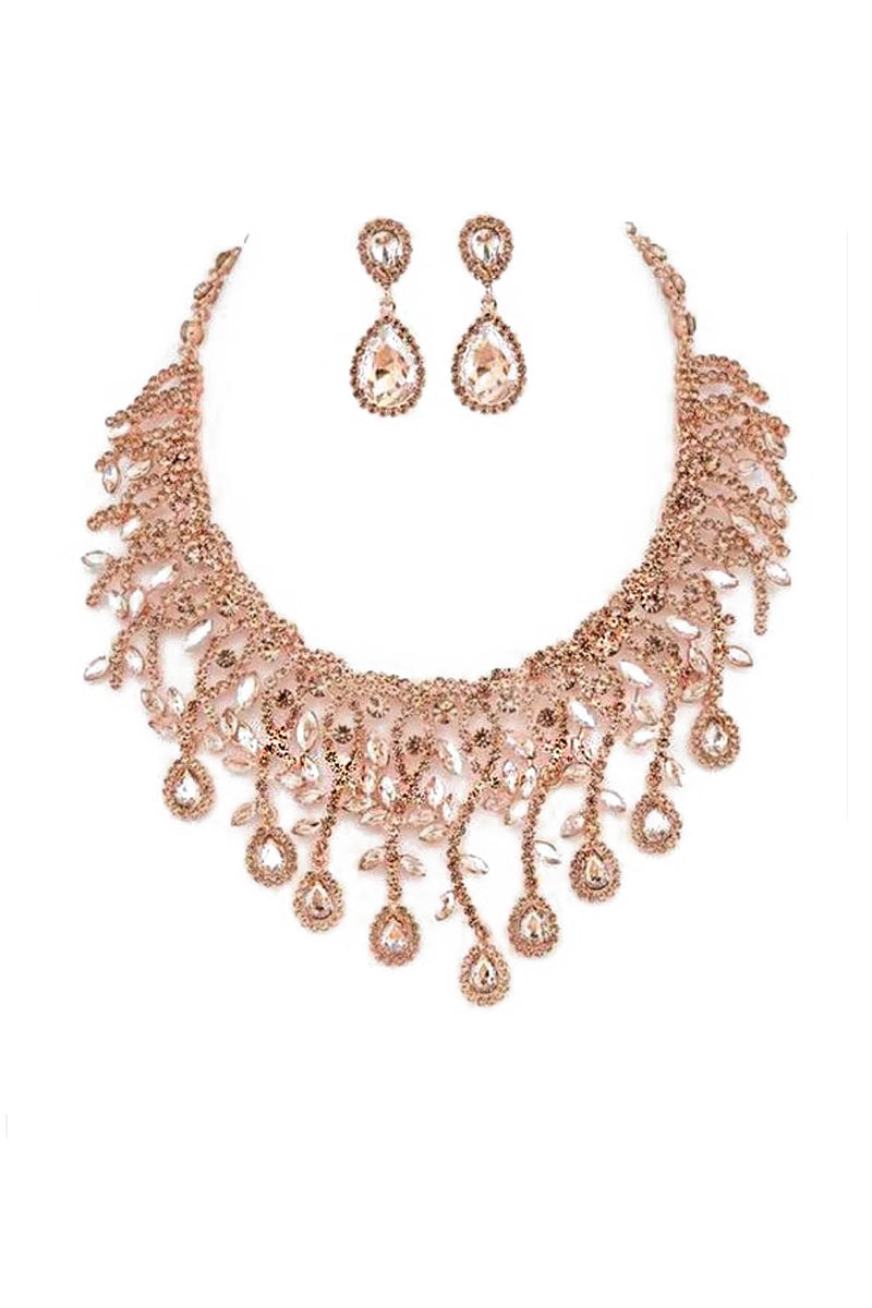 Petal Statement Necklace & Earring Set in Rose