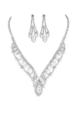 Scallop Rhinestone Necklace & Earring Set in Silver