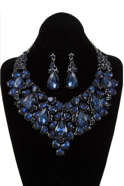 Bubble Rhinestone Statement Necklace & Earring Set in Blue