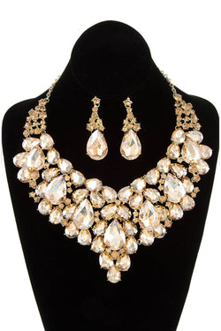 Bubble Rhinestone Statement Necklace & Earring Set in Topaz
