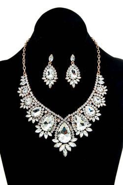 Gold Rhinestone Statement Necklace & Earring Set