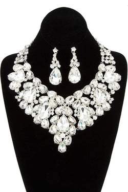 Bubble Rhinestone Statement Necklace & Earring Set in Silver