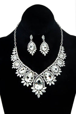 Silver Rhinestone Statement Necklace & Earring Set