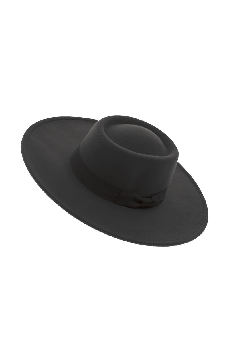 Black Boho Boater Hat