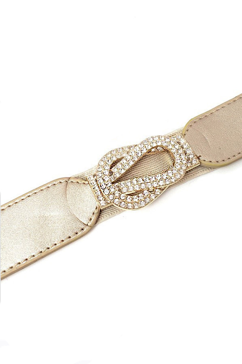 Rhinestone Buckle Belt in Champagne