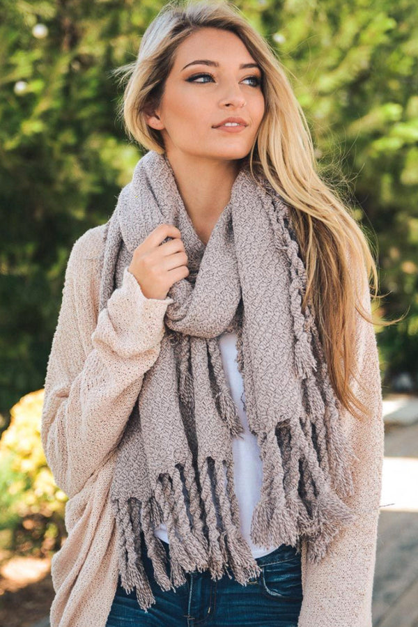 Oversized Chunky Tassel Knit Scarf in Antique Pink