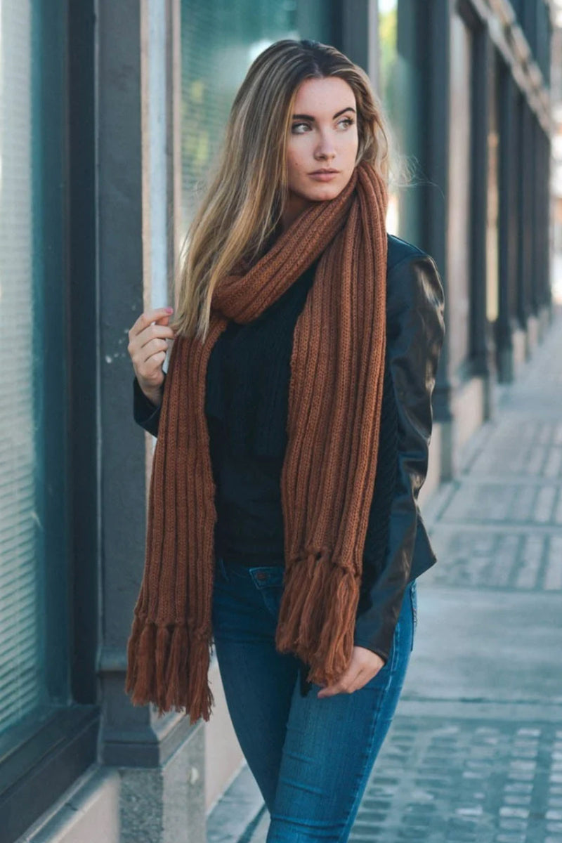 Ribbed Tassel Scarf in Harvest Brown