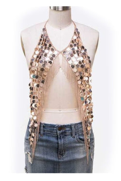 Disc Fringe Body Chain in Gold