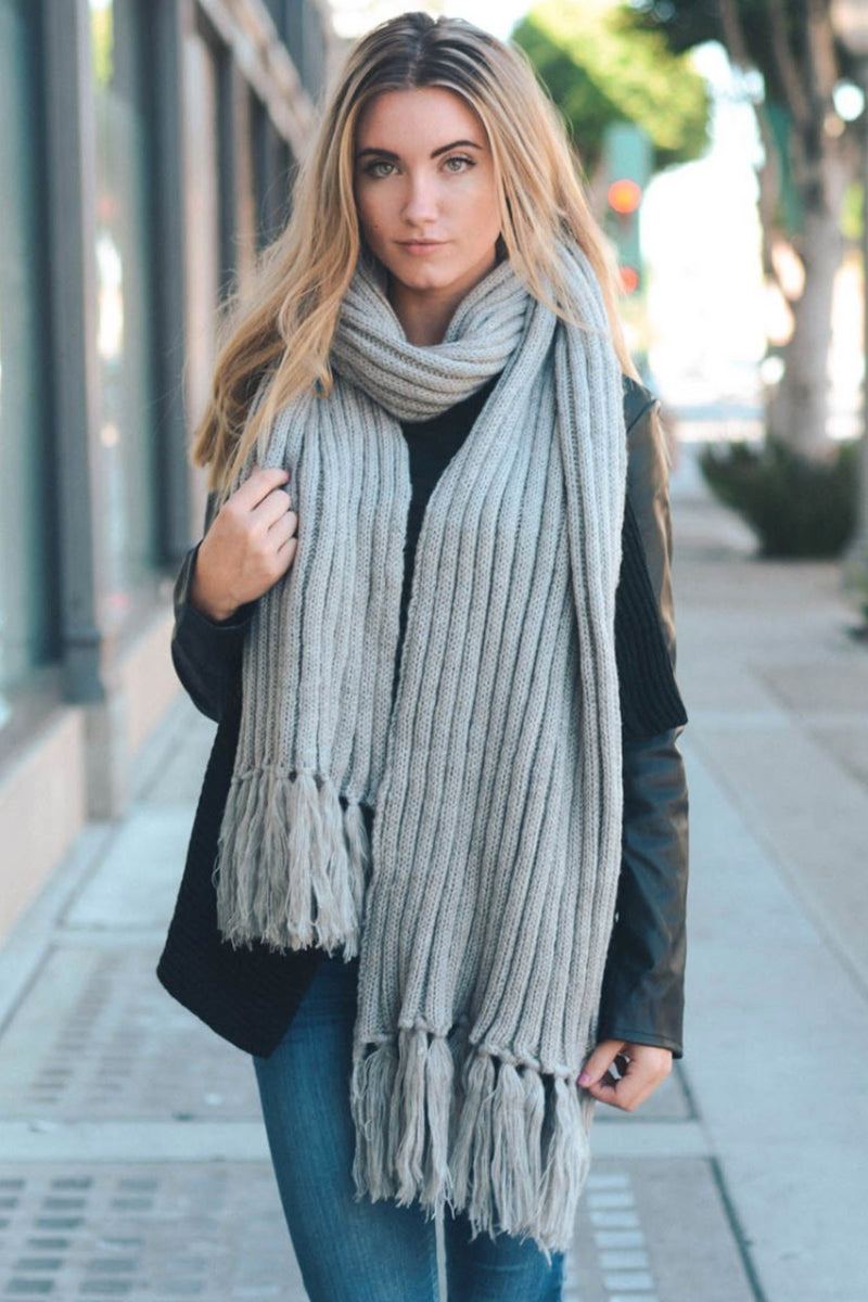 Ribbed Tassel Scarf in Soft Grey
