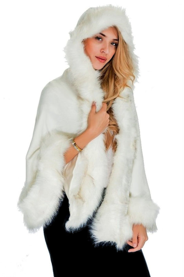 Hooded Fur Poncho