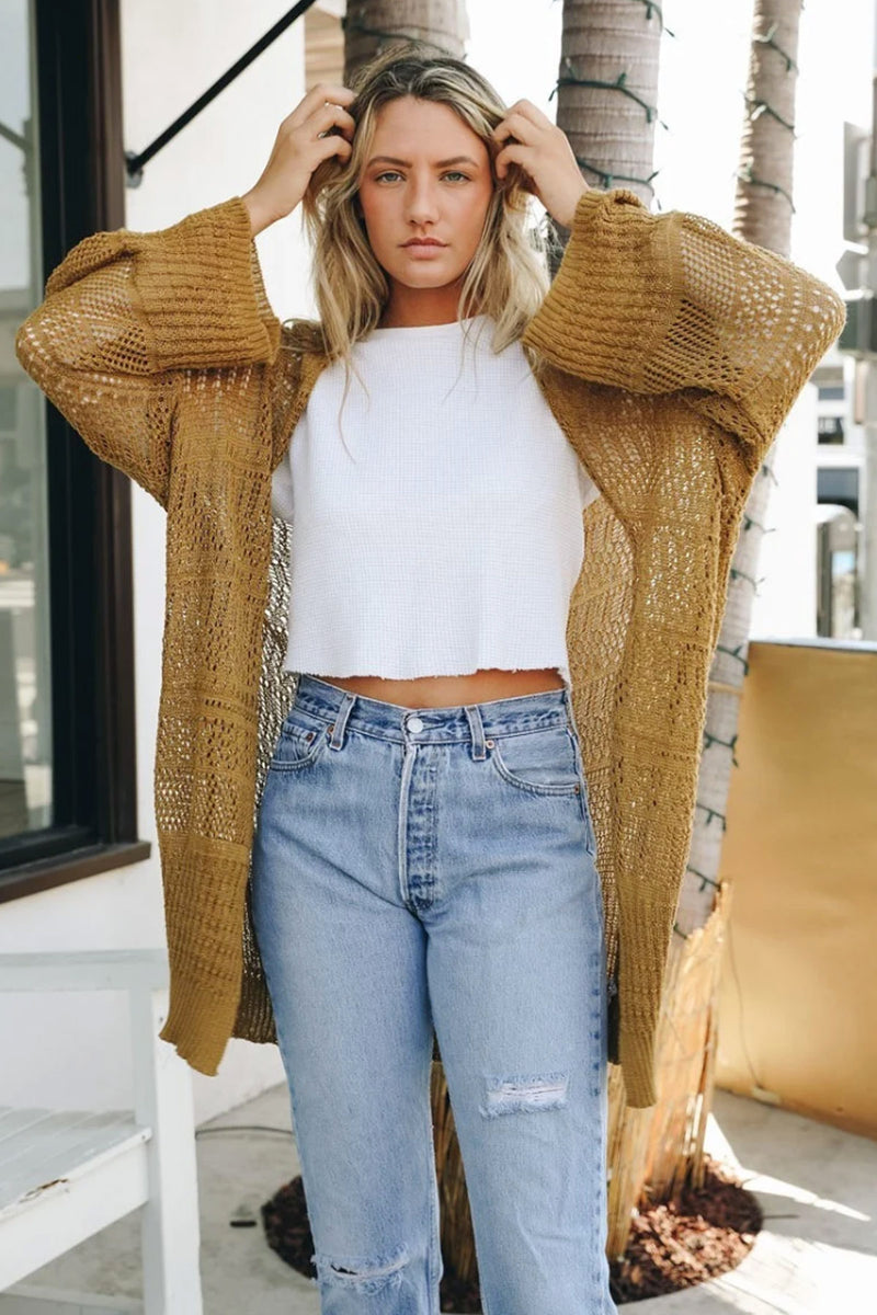Knit Netted Cardigan in Bronze