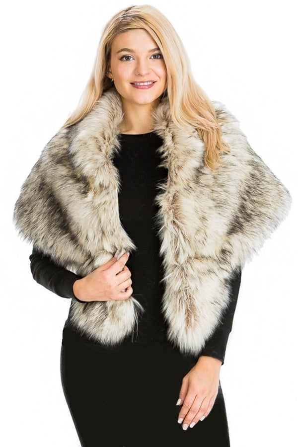 Faux Mink Fur Trim Shrug