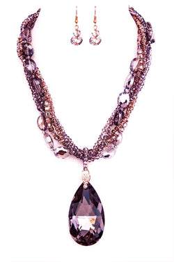 Purple Diamond Pendant Necklace and Earring Set