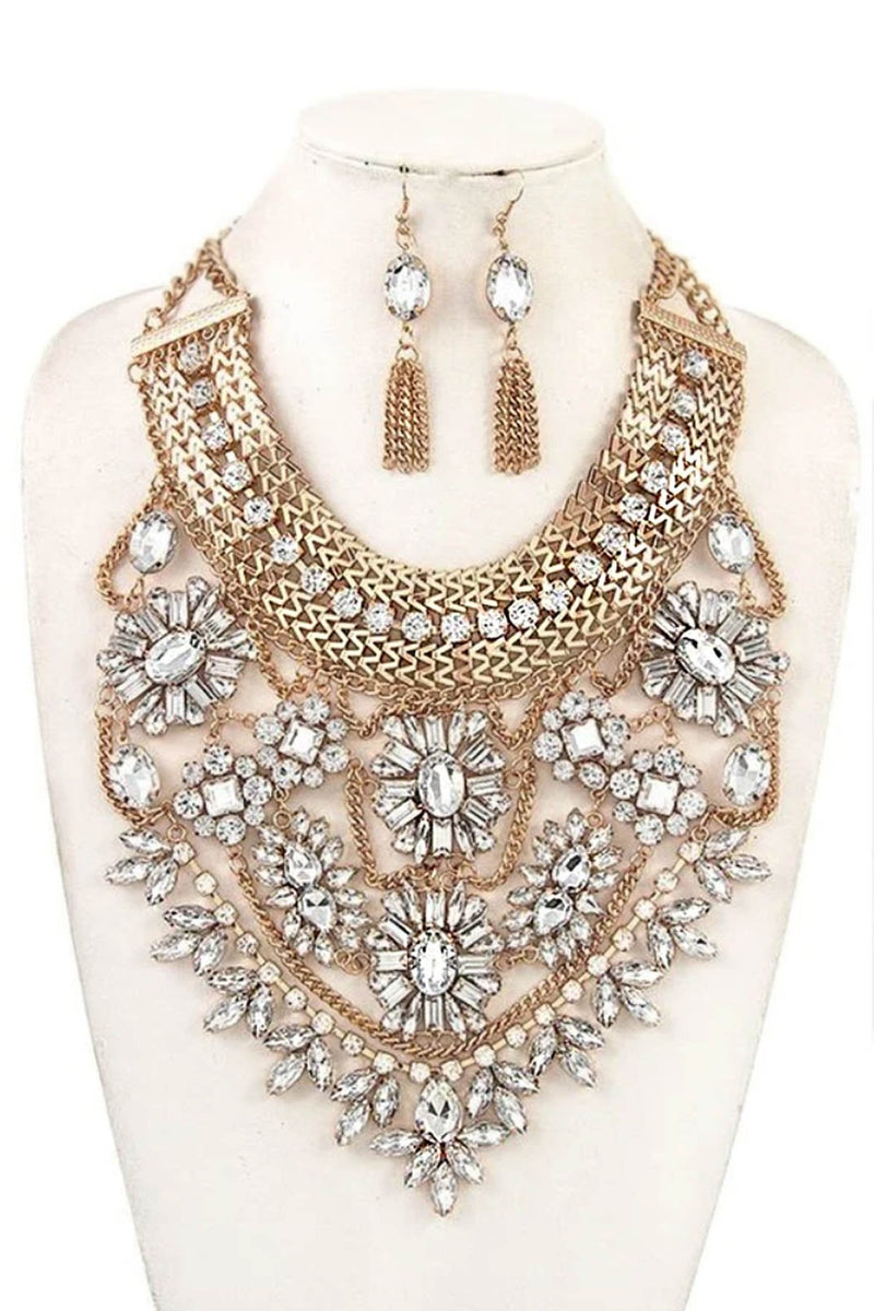 Rhinestone Chain Bib Statement Necklace and Earring Set in Ivory