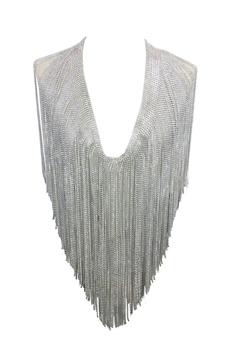 Deluxe Rhinestone Fringe Necklace in Silver