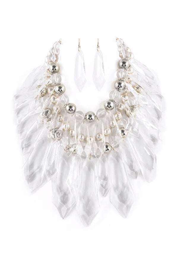 Acrylic Ice Statement Necklace