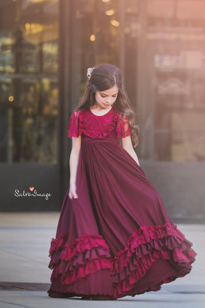 USED Size 6 Henrietta Gown in Burgundy • Girls Vintage Style Ruffled Gown • by Sew Trendy
