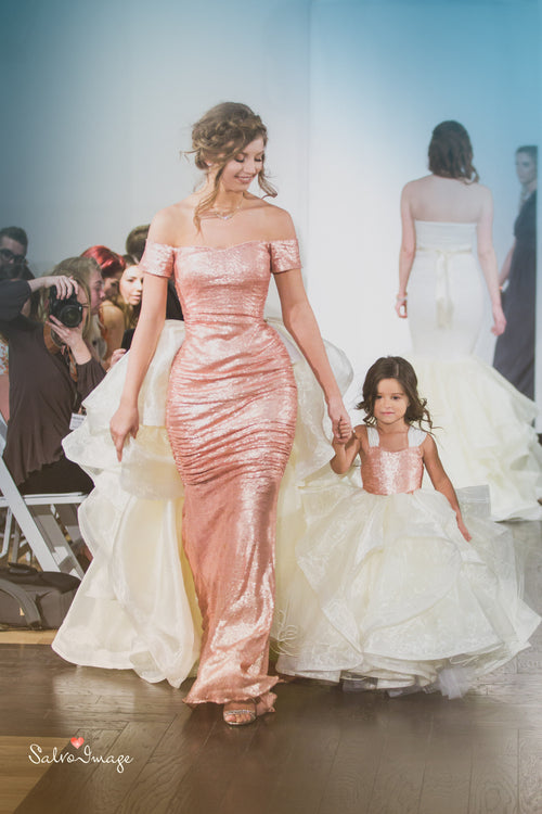 Elizabeth Gown • Couture Sequin Gown • Bridal Gown • Maternity Gown • Princess Tutu • Detachable Bustle Gown • by Sew Trendy