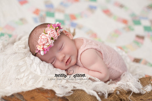 Mini Avery in Pink Newborn Floral Crown