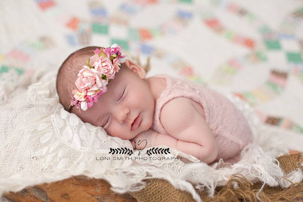 Mini Avery in Pink Newborn Floral Crown • Newborn Flower Crown • Simple Crown • Bohemian Crown • Ivory Floral Crown • Dainty Floral Crown | READY TO SHIP • by Sew Trendy