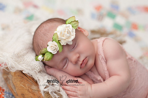 Mini Kona Newborn Floral Crown • Newborn Flower Crown • Simple Crown • Bohemian Crown • Ivory Floral Crown • Dainty Floral Crown | READY TO SHIP • by Sew Trendy