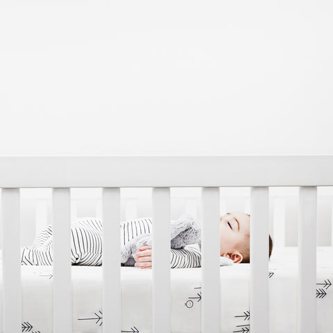 Baby sleeping on baby mori cot bedding how to get your baby to sleep