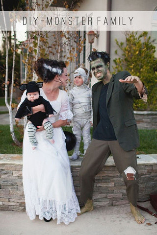 family dressed as classic monsters