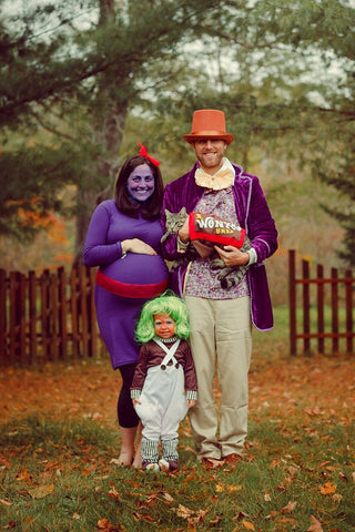 family dressed as charlie and the chocolate factory