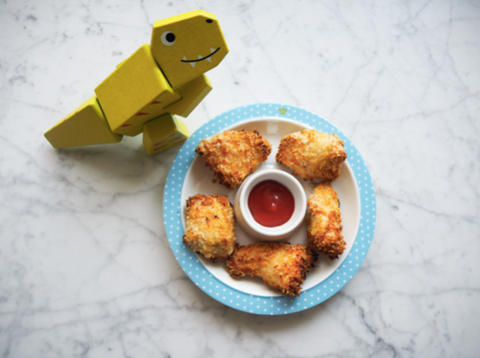 chicken nuggets and dinasaur