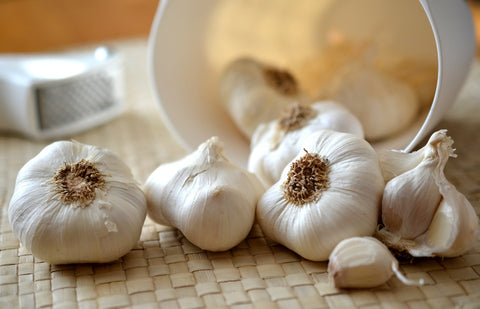 garlic cloves on table